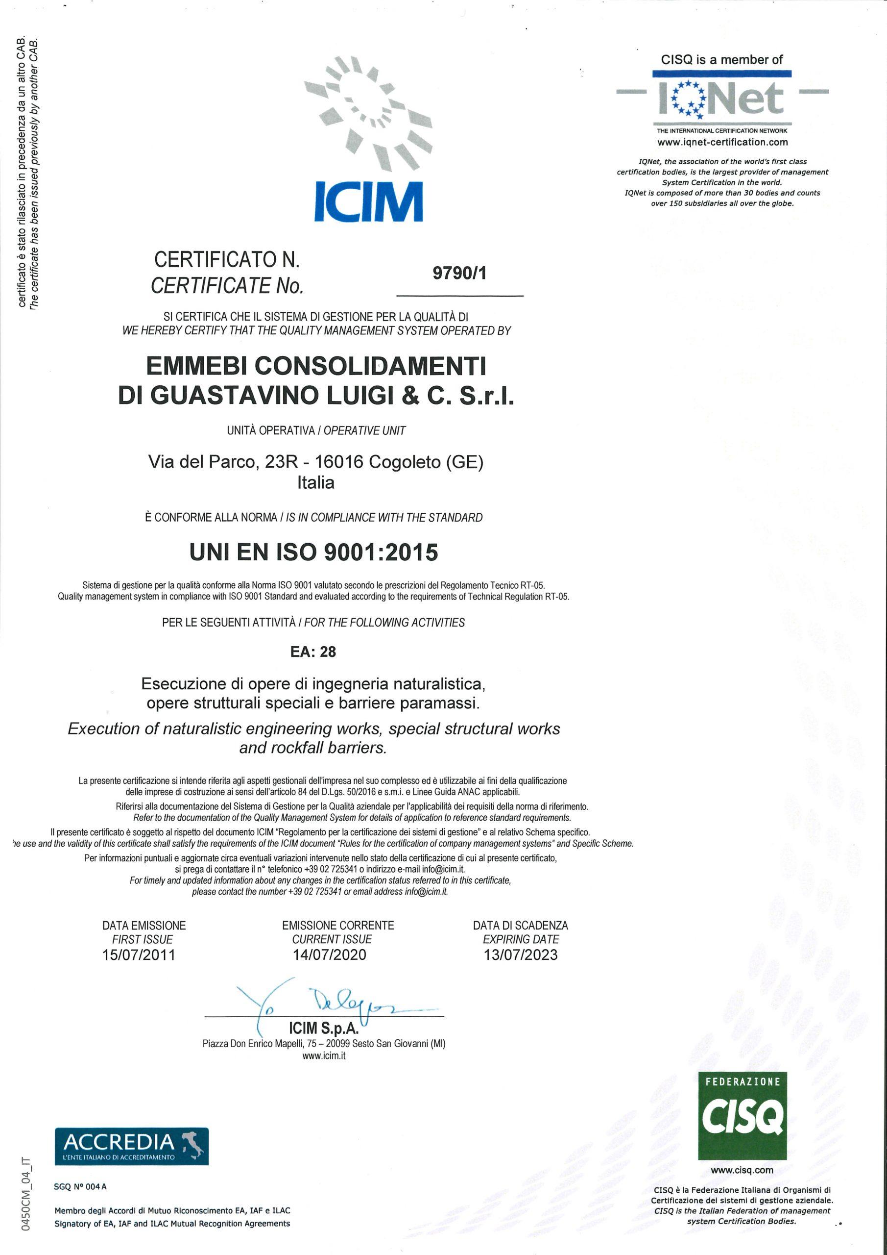 Attestato qualità 2020 ICIM